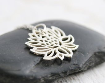 Lotus Bloom Necklace -Sterling Silver Blooming Lotus Necklace -Lotus Pendant -Lotus Jewelry -Yoga Necklace -Flower Necklace -Nature Necklace