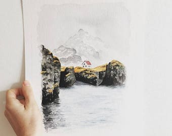 original watercolor painting of Icelandic landscape