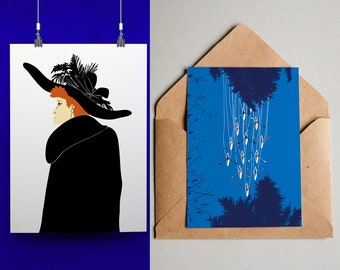 A4 - print - red headed woman- canoes - water - trees - blue - black - orange - illustration - graphic design - feathered hat - home decor
