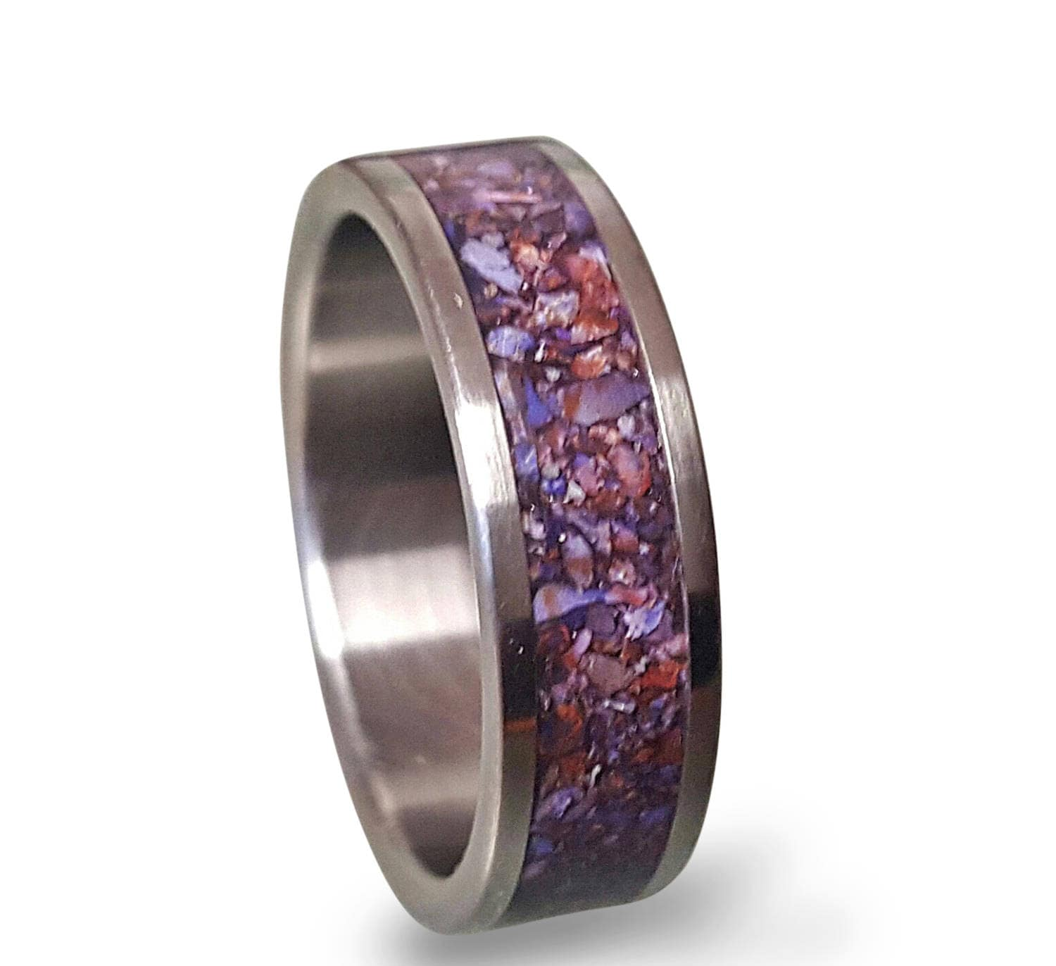 Crushed Amethyst Inlay : Titanium ring with crushed amethyst inlay purple