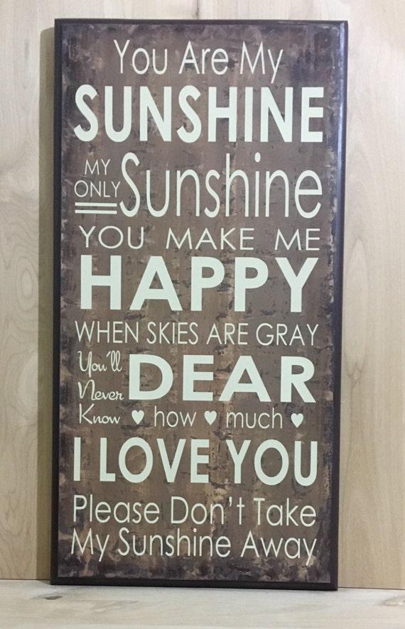 You Are My Sunshine Wall Art Wood Sign Nursery Wall Decor