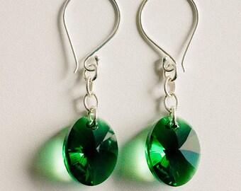 Dark Moss Green Oval Swarovski Crystal Earrings with Sterling and Bali Silver, Sterling Silver Earrings,