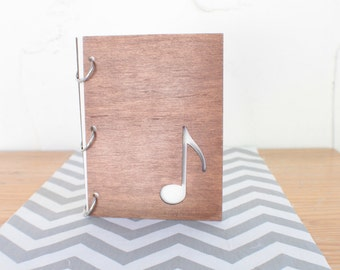 6X8 Music note wood journal/ mini album