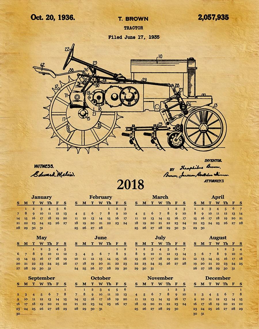 2018 Calendar 1935 John Deere B Tractor - Art Print or Poster - Wall ...
