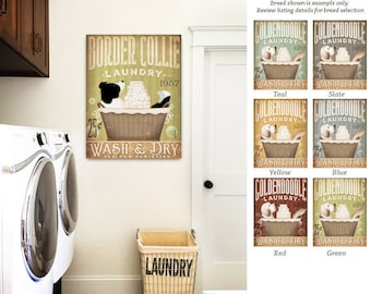 Border Collie dog Laundry Company basket illustration art on canvas by stephen fowler