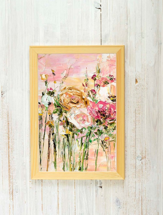 Bohemian Wall Art Flower Painting Peonies Wall Art Dusky Pink