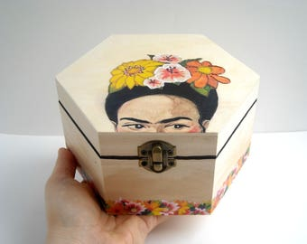 Floral Jewelry Box with Frida Kahlo, Hand Painted Flowers Jewellery Case, Frida Box for Girls, Art Teacher Gift, Cute Wooden Storage Chest