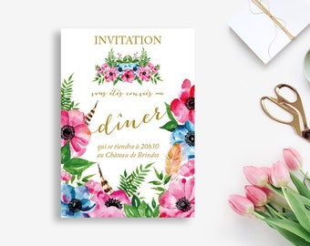 Printable Bohemian Dinner Invitation - Flowers Wedding Dinner Card - Wedding Dinner - Rustic Wedding - Bohemian Wedding - Floral Dinner Card