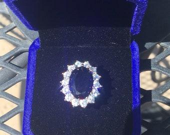 Kate Middleton Wedding Ring Created Dark Blue 6ct  Sapphire and Sparkling Lab Diamonds -