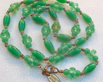 MIRIAM HASKELL Vintage Necklace Jade Green Glass Beads