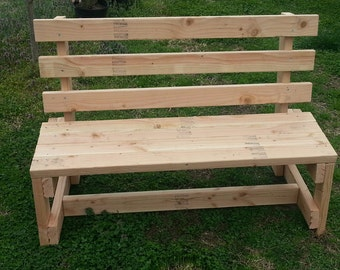 White Wood Garden  Bench Solid Handmade Bench With Back