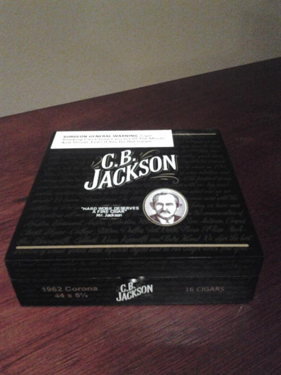 CB Jackson Wood Cigar BOX BLACK Wood Cigar Box for Crafts Jewelry