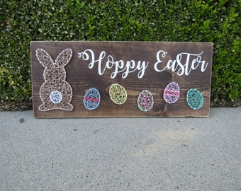 Hoppy Easter Bunny and Eggs String Art *Made-to-Order*