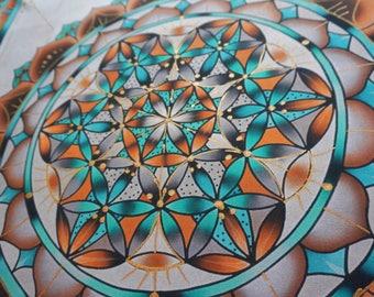 "Flower of life ""Crisocola"", series of copy print, original author's batik handmade, decorative wall art, colorful tapestry shiny, boho decor"