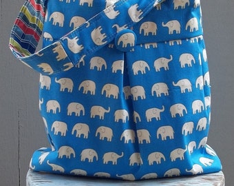 Elephant Diaper Bag - Reversible - 3 pockets - Key Fob