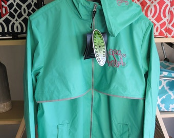FAST SHIPPING - Most colors/sizes available to ship. Please contact me for details. Custom embroidered Charles River Rain Jacket