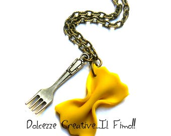Necklace of pasta - farfalle with fork - miniature polymer clay and cernit - kawaii miniature-- gift idea