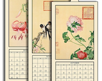 "HALF PRICE 2018 Digital Calendar Printable Downloads 4.8"" X 10"" Vintage Asian Bird & Flower Illustrations 12 Different Images  2018 CAL 16"