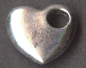 HEART Charm. Silver Plated. 3D Heart With Large Hole.