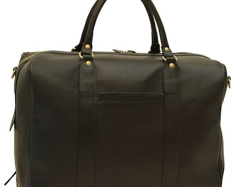 Leather Duffel Bag in Black made of Genuine Italian Leather - Travel Bag - Leather Bag - Laptop Bag - Leather Briefcase - Mens Gift