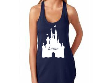 Disney Castle Home Racerback Fitted Top with Magic Kingdom Castle Matching Shirts in Different Colors Available for Trip to Disney World