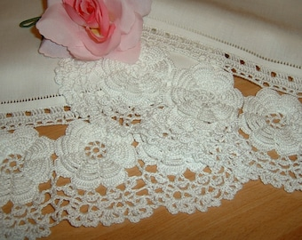 Crochet lace curtain with Rose of Ireland. Decorating white cotton windows. Edge of Lace. Shabby style. To order.