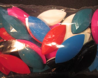 36 Talisman 20mm x 42mm marquise opaque plastic jewels, red,white,blue,teal,black,pink, for fashion art or decorating items