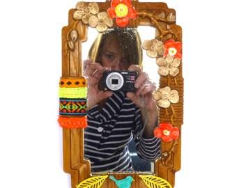 NEON VINTAGE Kitsch MIRROR/ Upcycled Kitsch Mirror/Neon Decor