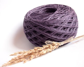 Linen Yarn, High Quality, Dark Purple Linen, #048 Linen Yarn For Crochet, Knitting, 100 g/ 3.5 oz