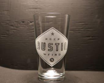 Etched Pint Glass Keep Austin Weird, Austin, Texas, Austin Souvenir, Made in Austin.