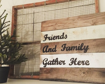 Friends And Family Gather Here Quote Diy Vinyl Wall Decal