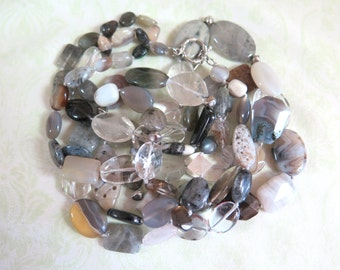 Polish Stone Bead Gray/Clear Multi-layered Necklace