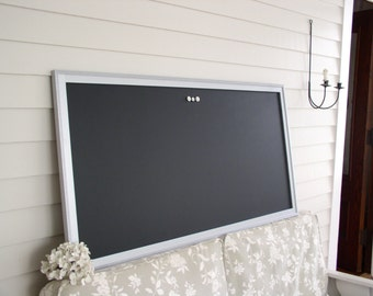 "HUGE Magnetic Chalkboard 26 x 50"" Restaurant Menu Board Metallic Silver Wood Frame Office Bulletin Board Corporate Office Conference Room"