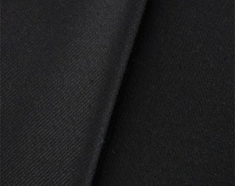Ebony Black Stretch Gabardine, Fabric By The Yard