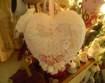 Stunning Ooak Large Shabby Chic Hanging Heart
