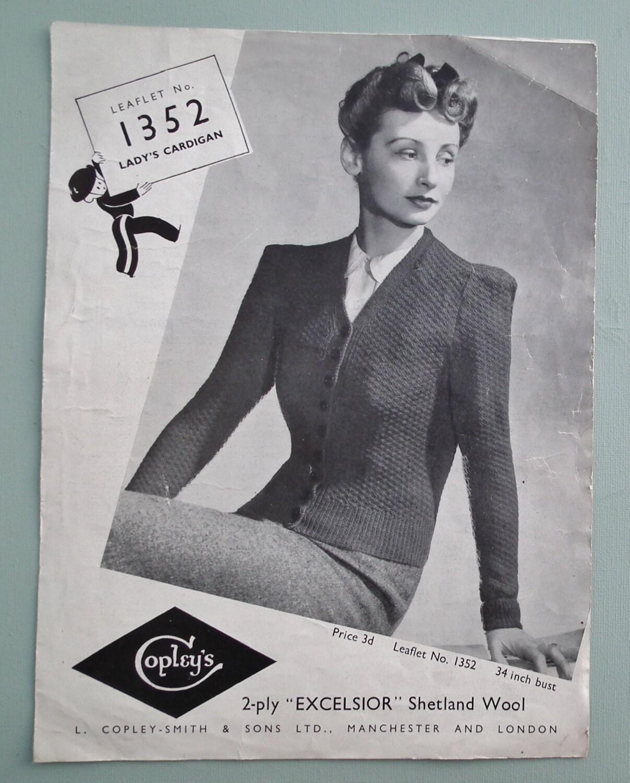 Vintage Knitting Pattern 1930s 1940s Women's Cardigan