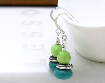Turquoise and Lime Sterling Silver Minimalist Drop Dangle Earrings  Beaded Earrings, for Her Under 70 Free US Shipping Gift Wrap