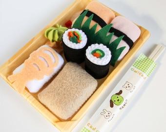 Pretend Play Felt Play Food Sushi Playset, Sushi Roll, Rice, Prawn, Shrimp, Crab, Wasabi, Play Kitchen