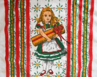 Vintage Alice In Christmas Land Towel Terry Cloth Kitchen Towel Holiday Decor Alice in Wonderland Layco 1980s Red White Green Joyeux Noel