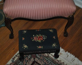 Vintage - Needlepoint - Foot Stool- Stool - Ottoman - Carved - Wooden Frame- Footed - Victorian Style