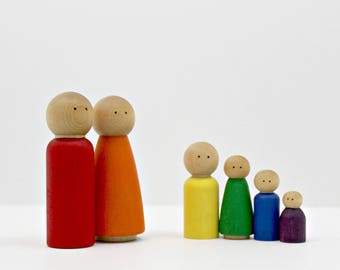 Wood Peg Doll Family Set - Classic Rainbow