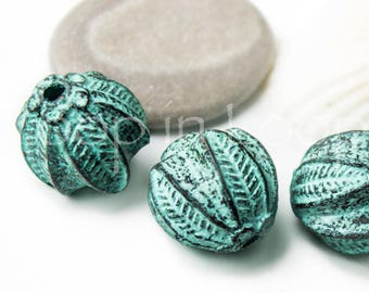 25%OFF Large Greek Wild Flower blossom bead Green Patina copper nature charms Mykonos beads 16mm Verdigris bohemian Charms Rustic Ball Beads