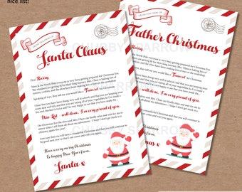 Letter from Santa Father Christmas Printable, Christmas Eve Box, Letter to Santa, List for Santa Claus, Nice List, Digital file