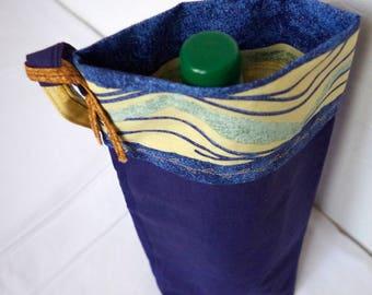 Bag for bottle, bottle holder, reusable bag for wine, champagne bag transports for juice or thermos. Practical bag.