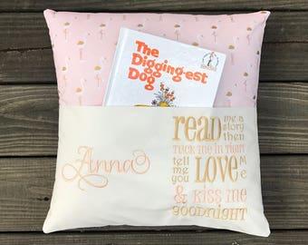 Pocket Reading Pillow-Reading Pillow-Book Pillow-Childrens Easter Gift-Childrens Birthday Gift-Kids Easter Gift-Kids Birthday Gift