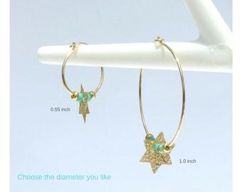 Star of David Earrings, Magen David Earrings, Star of David Hoop Earrings, Gold Star of David Earring, David Star Hoops, Jewish Star Hoops.