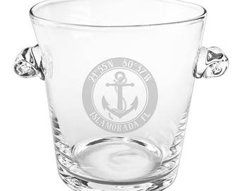 Custom Coordinates Anchor Scroll Handle Ice Bucket, Latitude Longitude Glassware