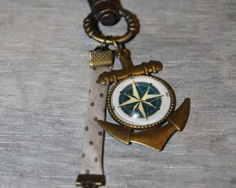 Bag charm / key chain metal bronze / compass Rose