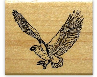 HAWK mounted bird rubber stamp, bird of prey, coming in for the kill, wildlife, Sweet Grass Stamps No. 9
