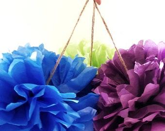 spring three / pom pom set / tissue paper pom poms / diy / wedding decor / nursery / spring time pom pom flowers / summer party decorations